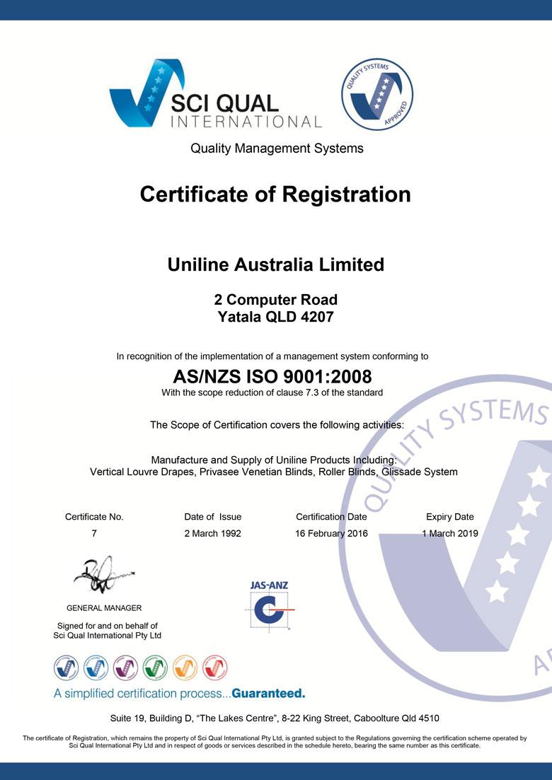 Uniline Quality ISO9001 2016 eCert